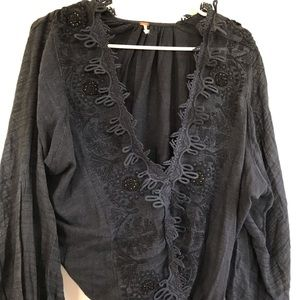 Free People Navy Blue Long sleeve Top size xs